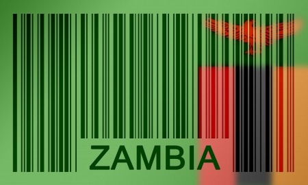 zambian flag: Flag of Zambia, painted on barcode surface