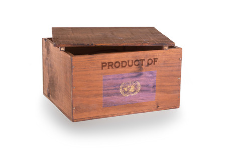 un used: Wooden crate isolated on a white background, product of the United Nations