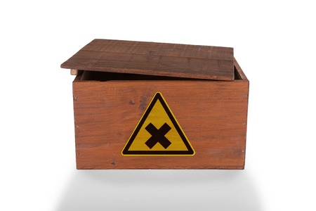 Wooden crate isolated on a white background, dangerous content photo
