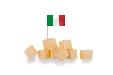 Pieces of cheese isolated on a white background, flag of Italy Stock Photo - 22557761