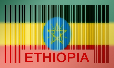 Flag of Ethiopia, painted on barcode surface photo