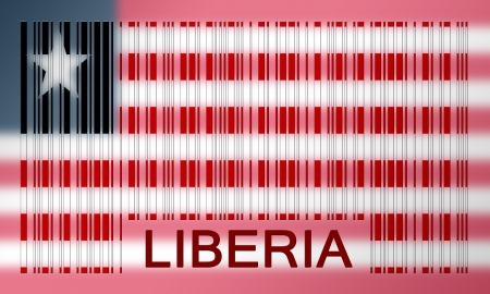 Flag of Liberia, painted on barcode surface photo