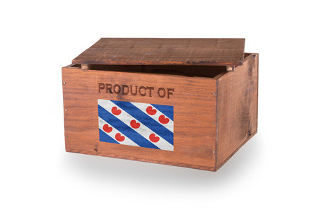 friesland: Wooden crate isolated on a white background, product of Friesland