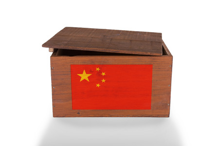 Wooden crate isolated on a white background, product of China photo