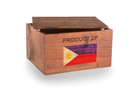 Wooden crate isolated on a white background, product of Philippines