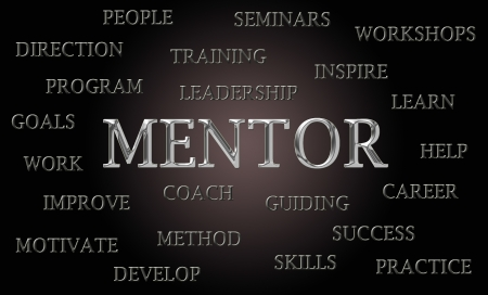 mentors: Luxury mentor word cloud written with chrome letters, dark background