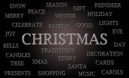 letras cromadas: Christmas nube de palabras escrita en letras cromadas de lujo Foto de archivo