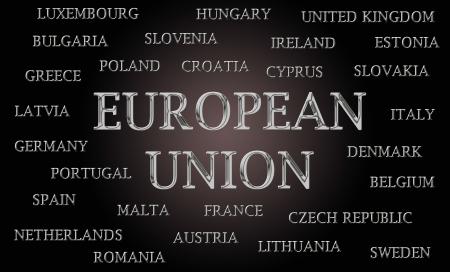 letras cromadas: Uni�n Europea nube palabra escrita en letras cromadas de lujo Foto de archivo