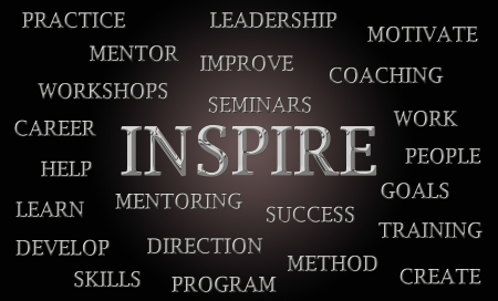 motivate: Inspire word cloud written in luxurious chrome letters Stock Photo