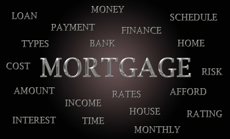 Mortgage word cloud written in luxurious chrome letters photo