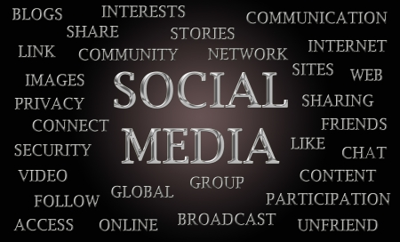 chrome letters: Social media word cloud written in luxurious chrome letters Stock Photo
