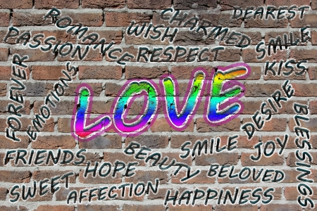 Love word cloud painted with grafitti on a brick wall photo