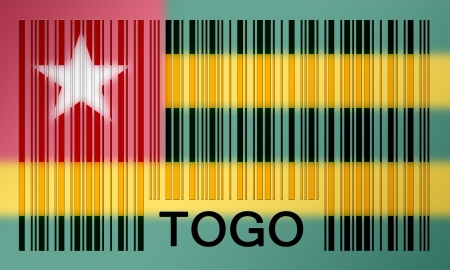 togo: Flag of Togo, painted on barcode surface