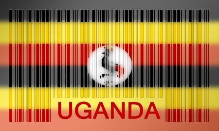 uganda: Flag of Uganda, painted on barcode surface Stock Photo