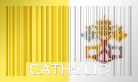 ciudad del vaticano: Bandera de la Ciudad del Vaticano, pintado en la superficie de c�digo de barras