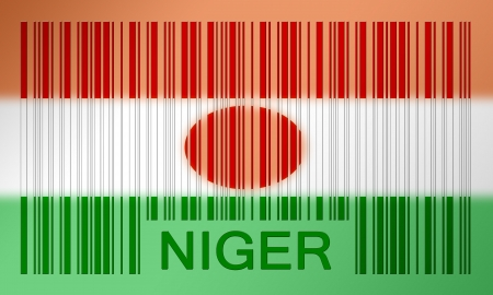 niger: Flag of Niger, painted on barcode surface