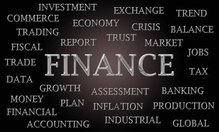 letras cromadas: Finanzas nube de palabra escrita en letras cromadas de lujo