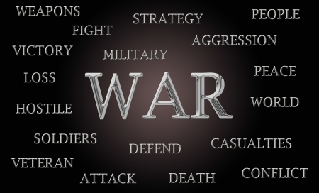 War word cloud written in luxurious chrome letters Stock Photo