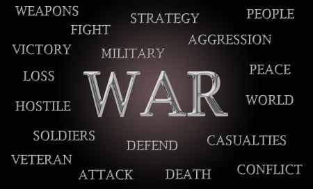 hostilities: War word cloud written in luxurious chrome letters Stock Photo