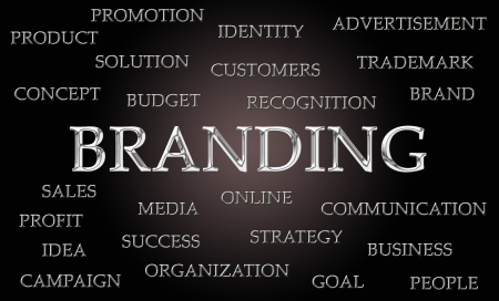 branded product: Branding word cloud written in luxurious chrome letters
