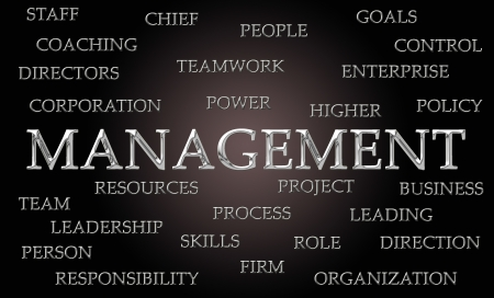 Management word cloud written in luxurious chrome letters photo