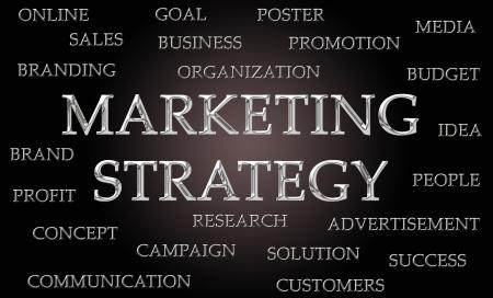 letras cromadas: Estrategia de marketing nube de palabras escrita en letras cromadas de lujo