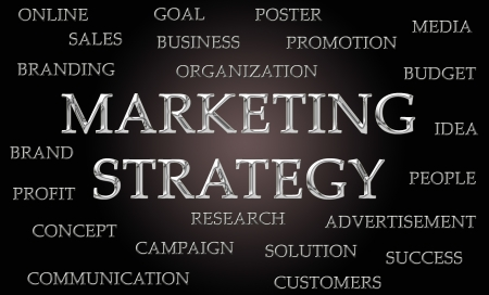 Marketing strategy word cloud written in luxurious chrome letters photo
