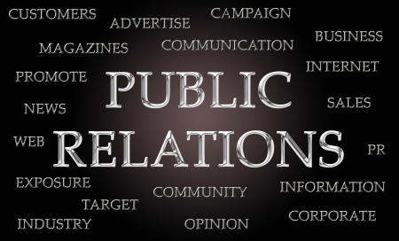 chrome letters: Public Relations word cloud written in luxurious chrome letters Stock Photo