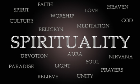 godlike: Spirituality word cloud written in luxurious chrome letters