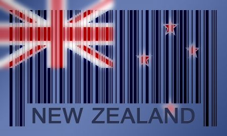 Flag of New Zealand, painted on barcode surface photo