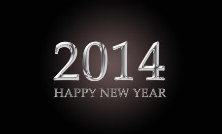 letras cromadas: 2014, feliz a�o nuevo, escrito en letras cromadas de lujo Foto de archivo