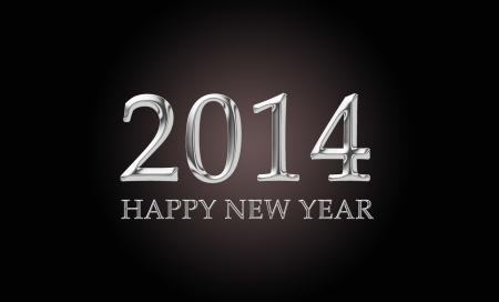 chrome letters: 2014, happy new year, written in luxurious chrome letters Stock Photo
