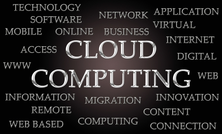 chrome letters: Cloud computing word cloud written in luxurious chrome letters