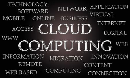 letras cromadas: La computaci�n en nube nube de la palabra escrita en letras cromadas de lujo