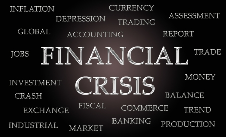 chrome letters: Financial crisis word cloud written in luxurious chrome letters