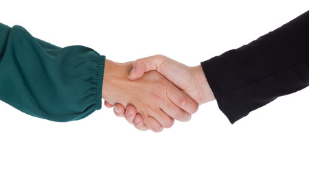 Close up of two women shaking hands, isolated on white Stock Photo - 23193709