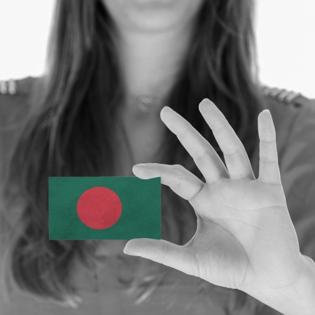 Woman showing a business card, black and white, Bangladesh photo