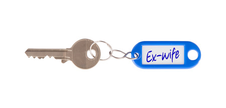 ex wife: Key with blank label isolated on white background, ex-wife