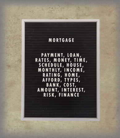 Mortgage concept in plastic letters on very old menu board, vintage look photo