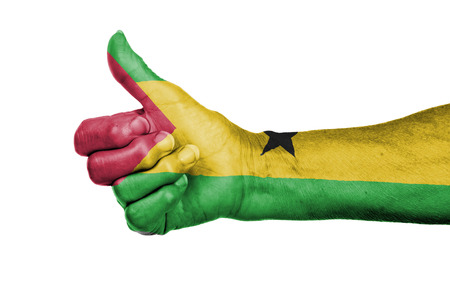 tome: Old woman giving the thumbs up sign, isolated, flag of Sao Tome and Principe