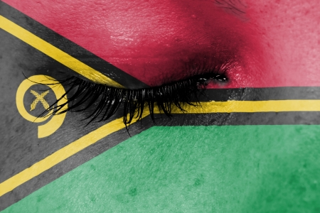 Crying woman, pain and grief concept, flag of Vanuatu photo