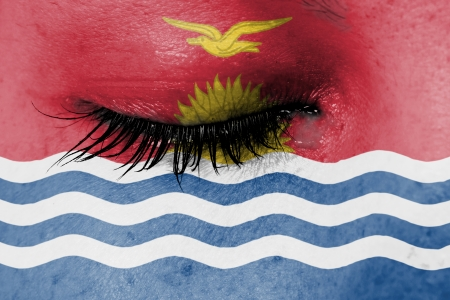 Crying woman, pain and grief concept, flag of Kiribati photo
