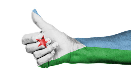 Old woman giving the thumbs up sign, isolated, flag of Djibouti
