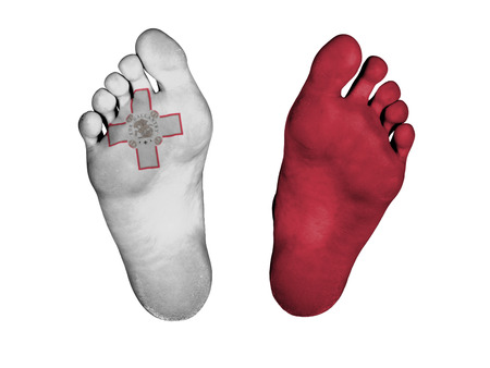 resurrect: Feet with flag, sleeping or death concept, flag of Malta Stock Photo