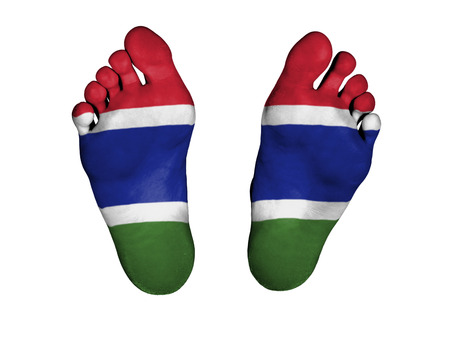 resurrect: Feet with flag, sleeping or death concept, flag of The Gambia