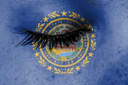 Crying woman, pain and grief concept, flag of New Hampshire photo
