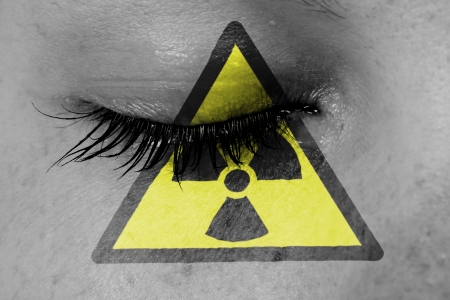 Crying woman, pain and grief concept, radioactive photo