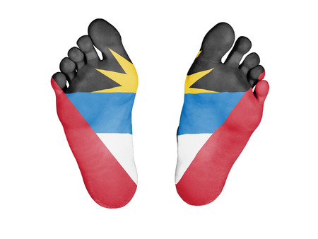 resurrect: Feet with flag, sleeping or death concept, flag of Antigua and Barbuda