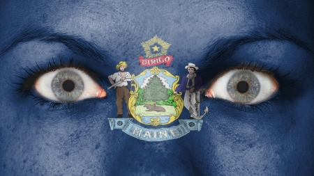 rooting: Close up of eyes. Painted face with flag of Maine