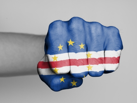 Fist of a man punching, flag of Cape Verde